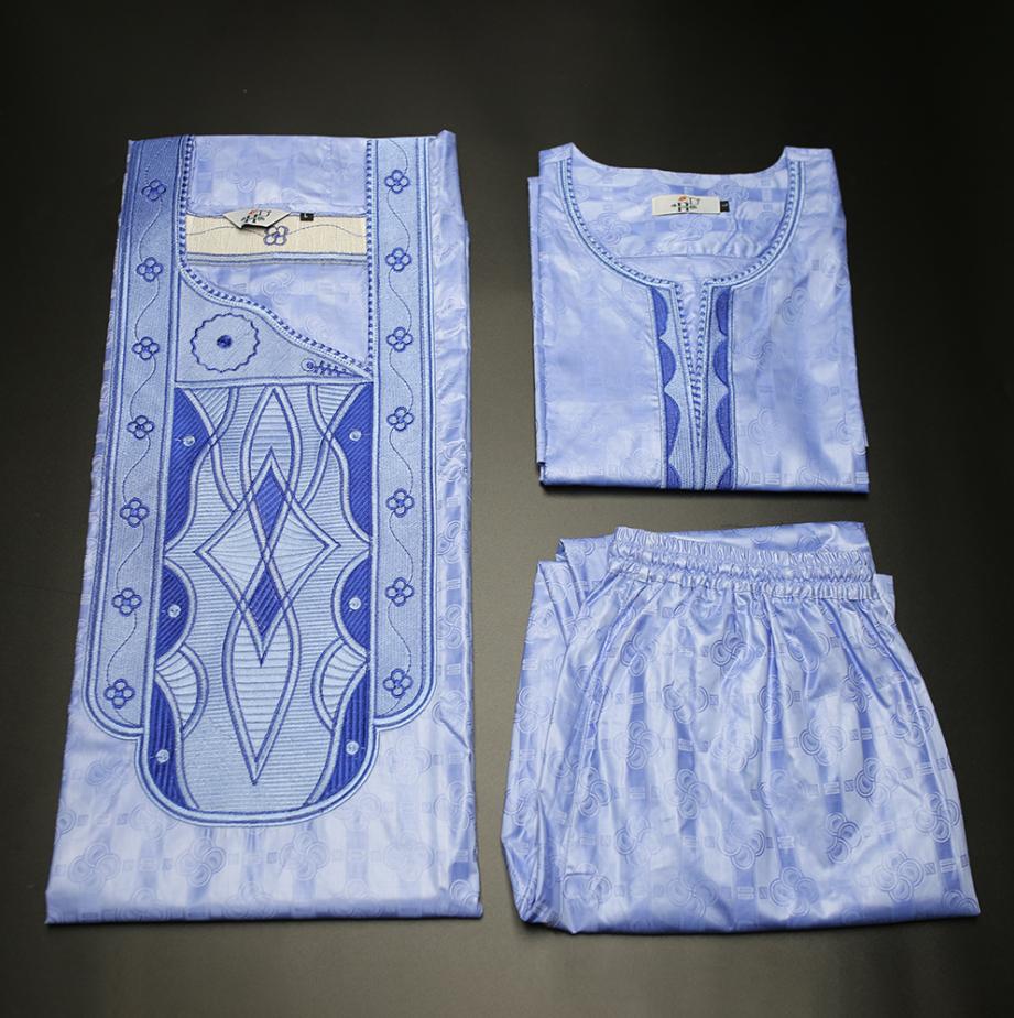H & D  African style Men Long Clothes cotton embroidery Mens Suit Tops Shirt 3 piece set