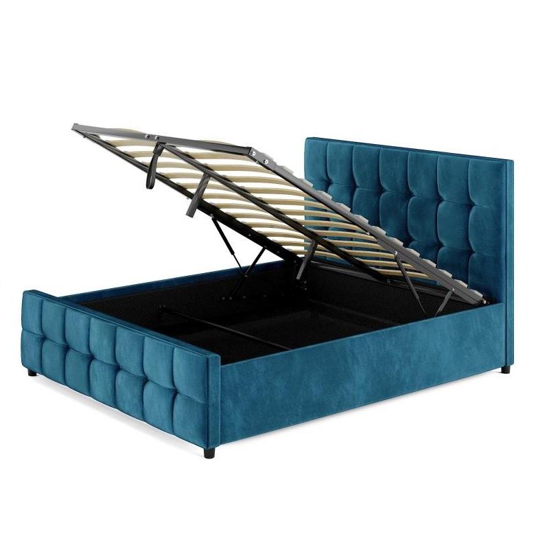 इतालवी डिजाइन बेडरूम फर्नीचर असबाबवाला राजा आकार भंडारण बिस्तर फ्रेम