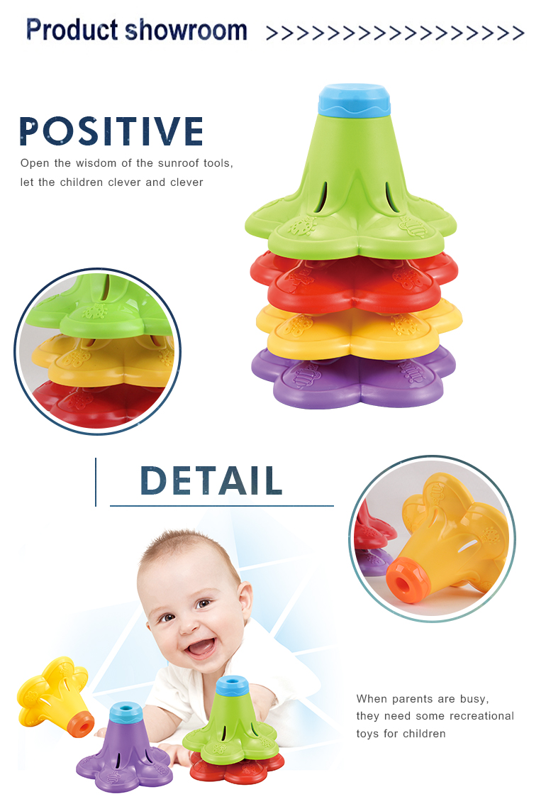 Kids colorful plastic stacking rotating cups baby educational game toy fold