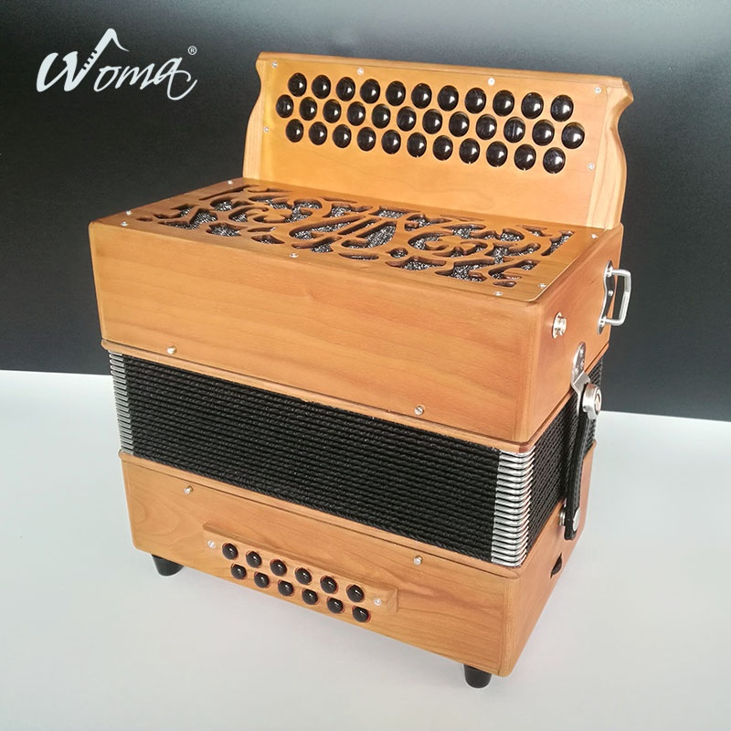 High Grade 34K12B Diatonic Wood Accordion Instruments With Cagnoni Reeds