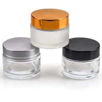 Luxury Clear Frosted Skin Care Packaging Cream Bottle Glass Skincare Packaging Cream Cosmetic Glass Jar