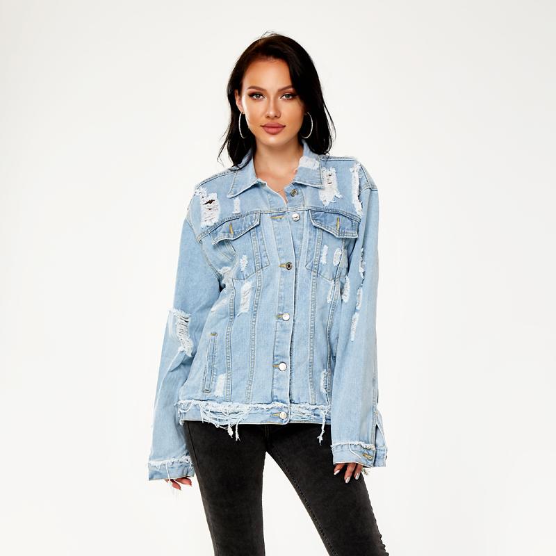 Le plus récent OEM Jeans Oversize Boyfriend Veste Jean Personnalisé En Gros Imprimé Vestes Denim Veste Femmes