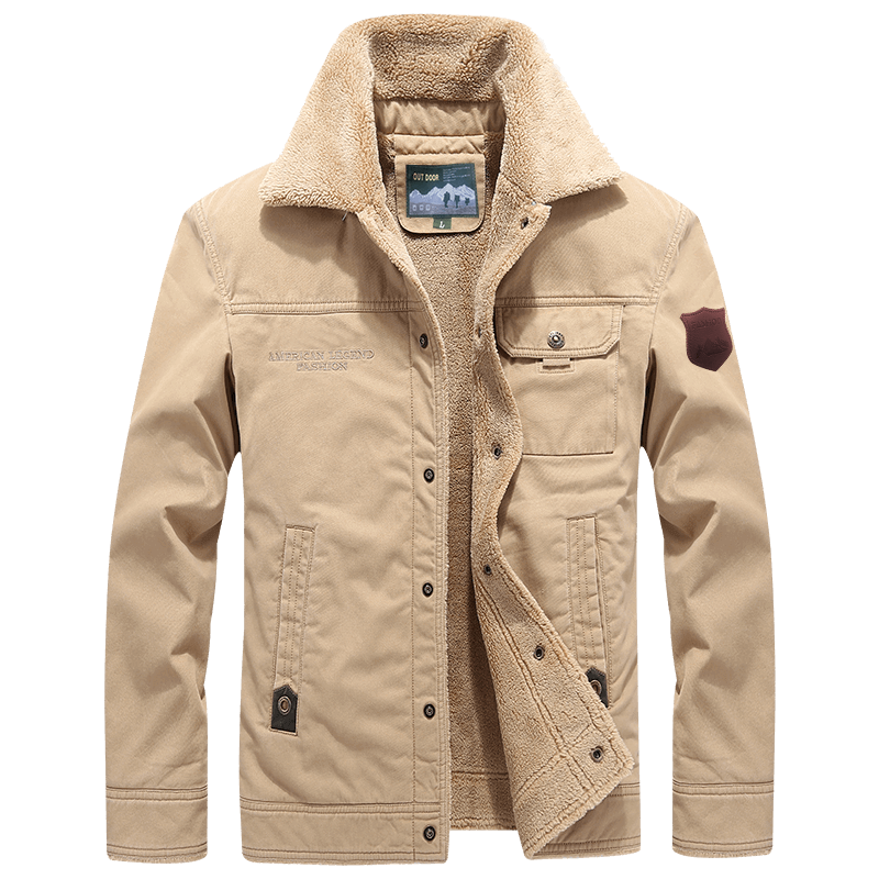 100% Cotton Fleece Warm <strong>Man</strong> Coat Turn Down Collar <strong>Winter</strong> <strong>Jacket</strong> <strong>Man</strong>