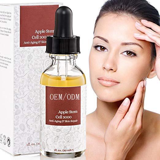 Private Label Anti-Aging Apple Stem Cell Serum Booster Menghilangkan Kerutan Membangun Kembali Kolagen & To Elate