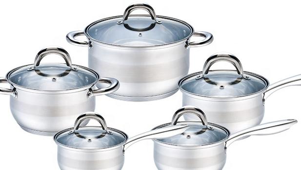7 ステップ底 8 個調理器具鋼ステンレス調理キャセロール鍋セット