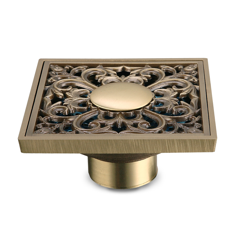 High Quality Square Design 4 Inch Antique Brass Bathroom Shower Floor <strong>Drain</strong>
