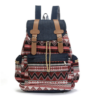 student ladies travel hipster school backpack bag with ethnic pattern
