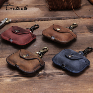 contact's dropship wholesale crazy horse leather airpods pro earphone case iphone wireless bluetooth headphone protective cover