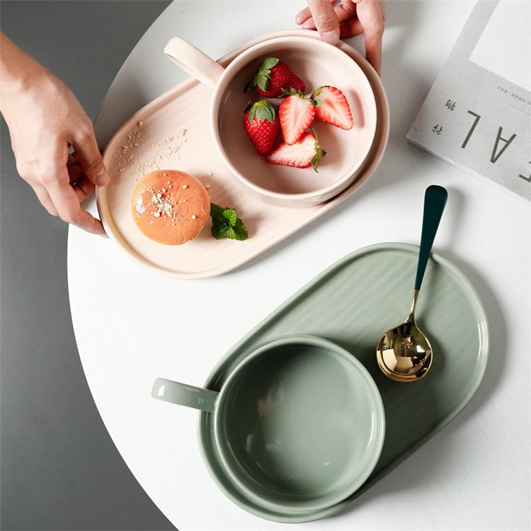 Macaron color wholesale customized breakfast porcelain dinnerware set