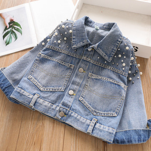 Baby denim jacket for girls coats pearl kids coat children clothes fashion boutiques kids clothes wholesale bulk outfit 32876454