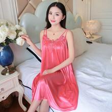 Модная сексуальная Женская длинная ночная рубашка из сатина и кружева оверсайз 4XL, повседневная женская ночная рубашка с глубоким кружевом(Китай)