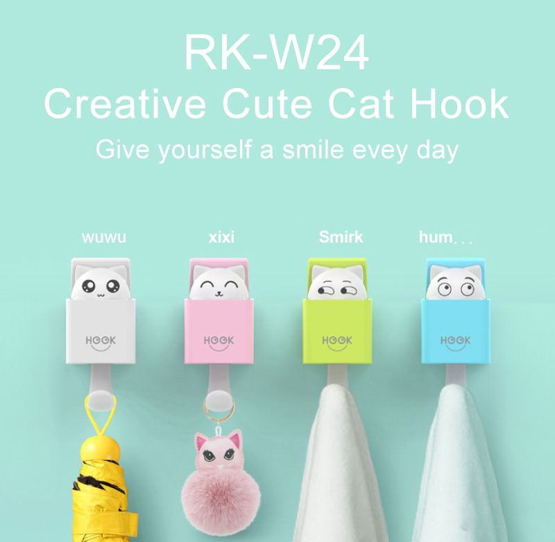 Lovely Cat Hooks Wall Hanger for Key Hook Decorative Adhesive Kitty Hooks Key Holder Coat Rack Utility Hook for Wall Hanging