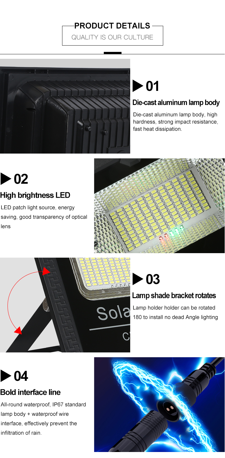 Super bright IP67 Waterproof Outdoor Aluminum SMD 35w 55w 75w 125w 200w 300w solar led flood light