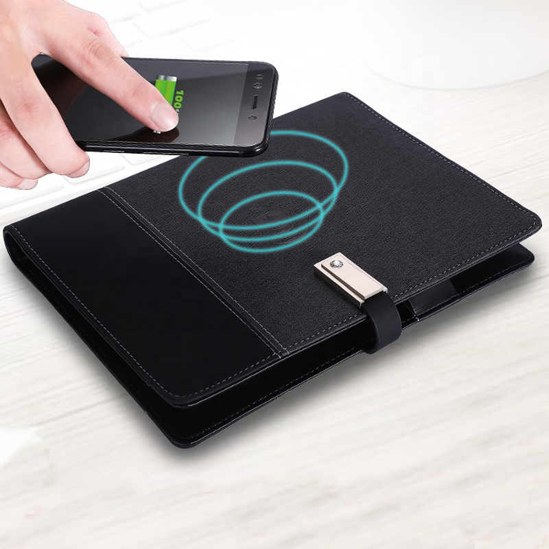 A5 Custom Leather Smart Wireless Charger Planner Diary Notebook With Powerbank and USB