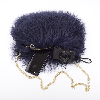 New arrival Jtfur Wholesalers China Supplier Nevy Ladies Feather Bag Women Real Sheep Fur Hand Bag
