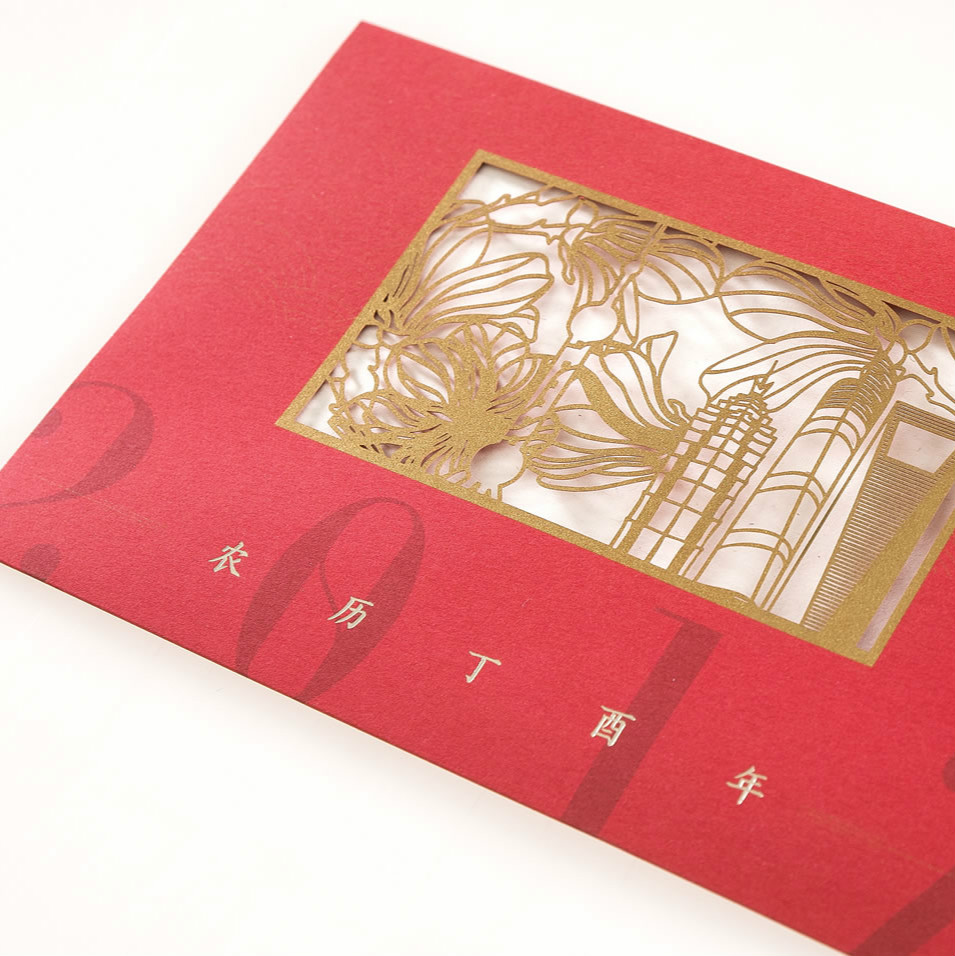 Hot sale 3D logo birthday greeting card Chinese new year greeting card