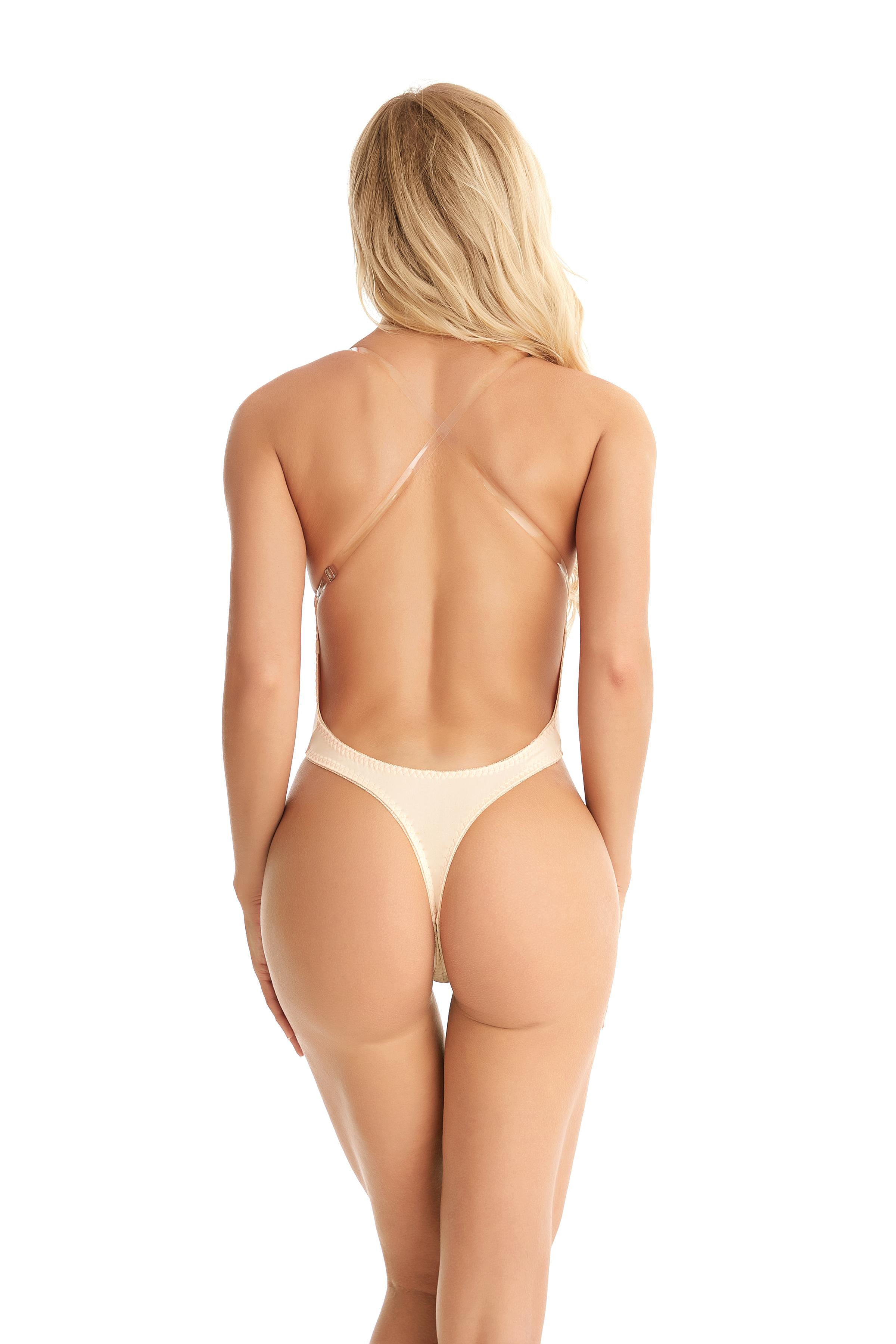 Women U Plunge Backless Underwear Invisible Full Body Bra Thong Shaper G-strings