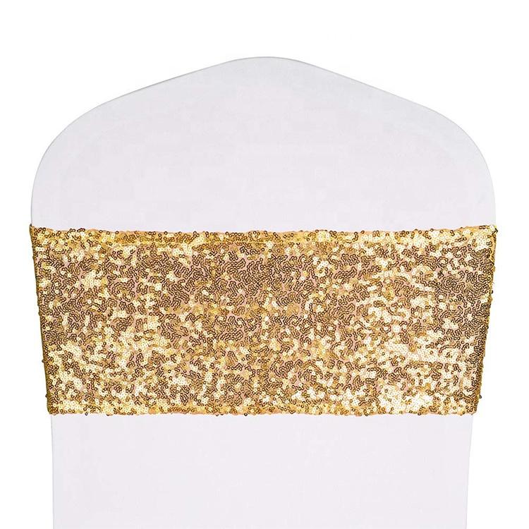 Эластичный блестящее розовое платье с золотыми блестками спандексных чехлов на кресла полосы накидки на стулья для банкета и вечеринки, дома, свадьбы,