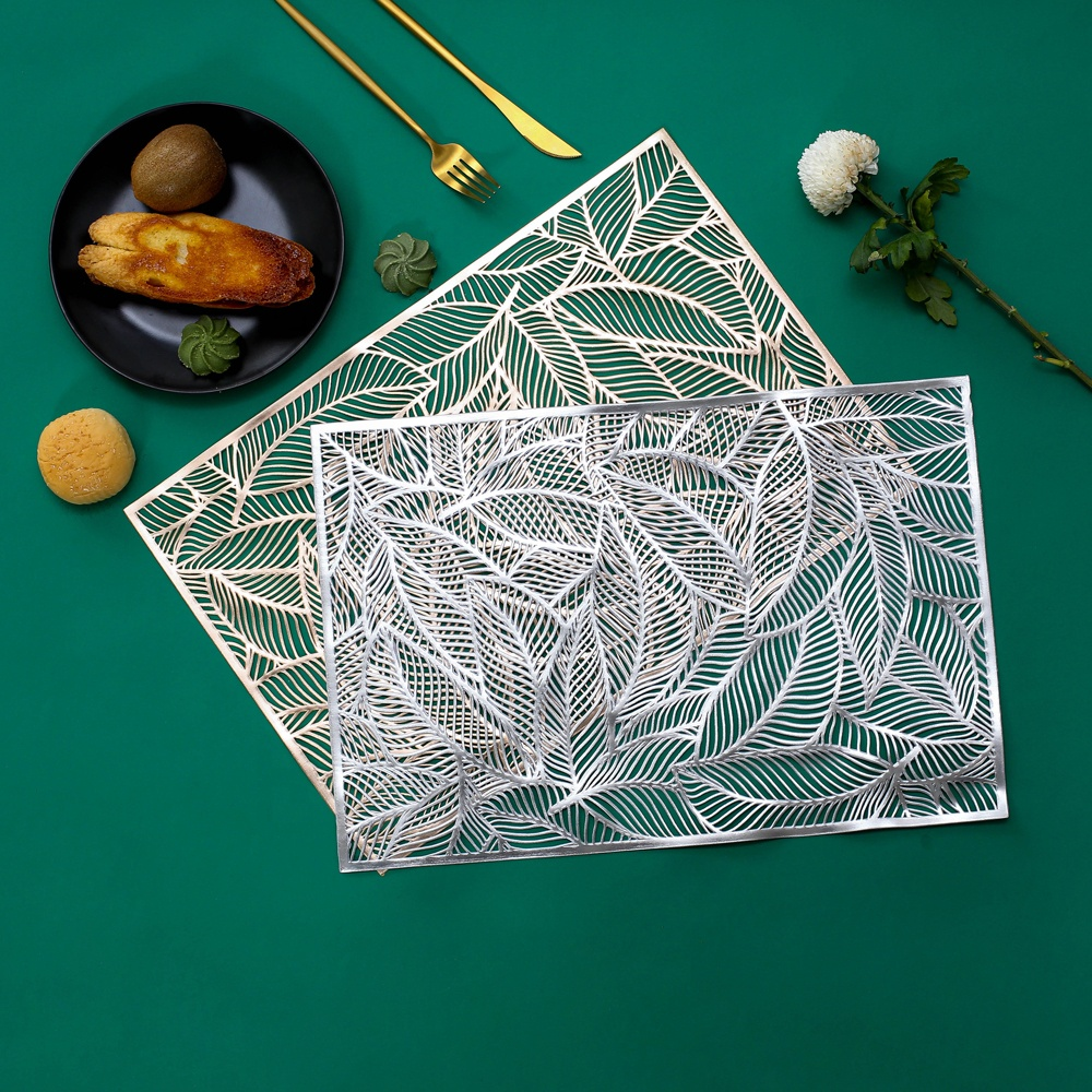 IN STOCK PVC Rectangle Leaf Placemat For Wedding Dinning, Home Decor
