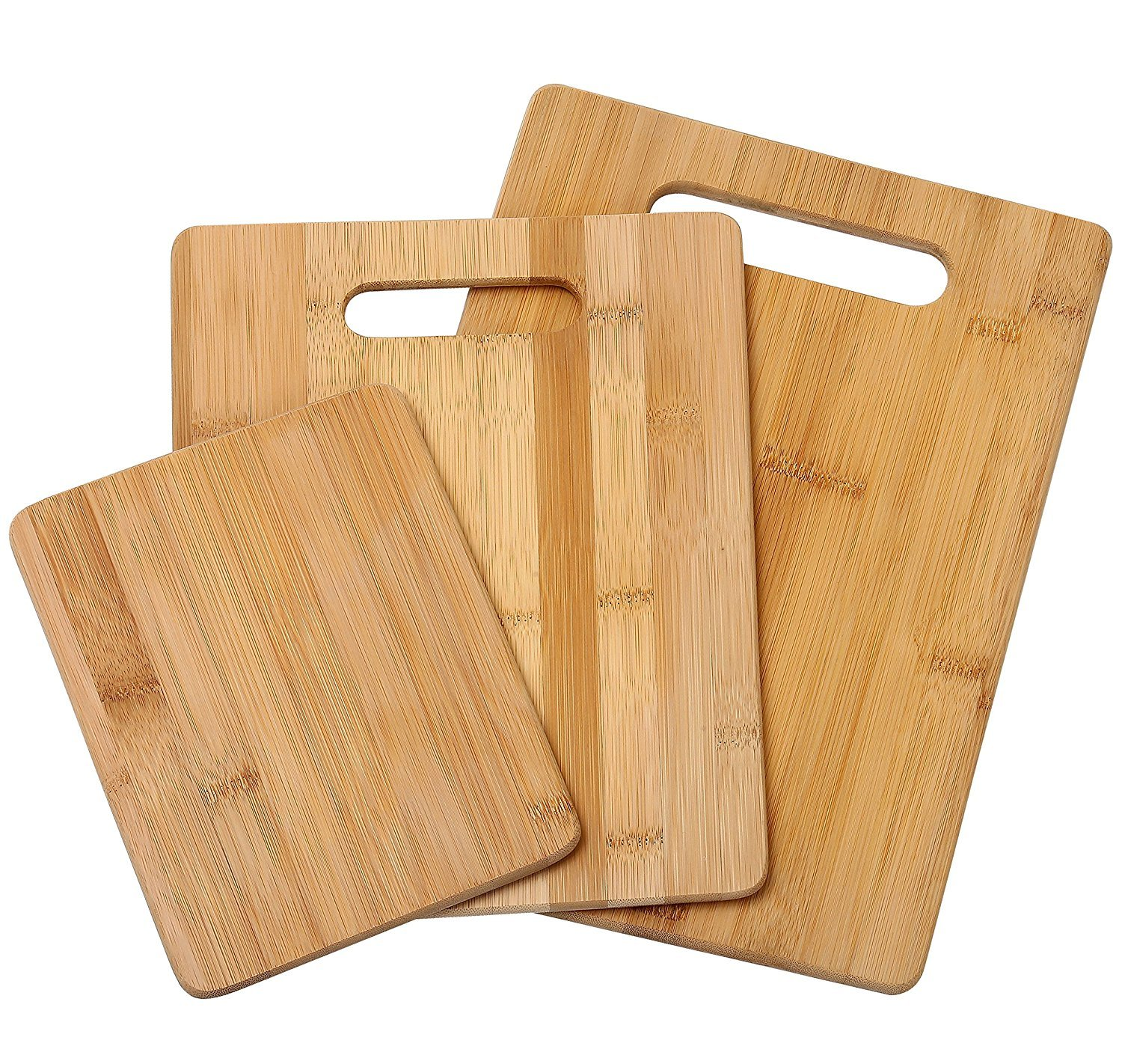 Bamboo Cutting Board with Handles for Food Prep, Meat, and Vegetables set of 3