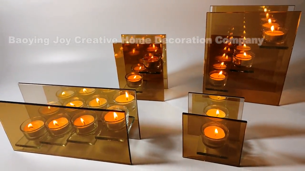 Netherlands style infinity light brown glass candle holder with 3 lights