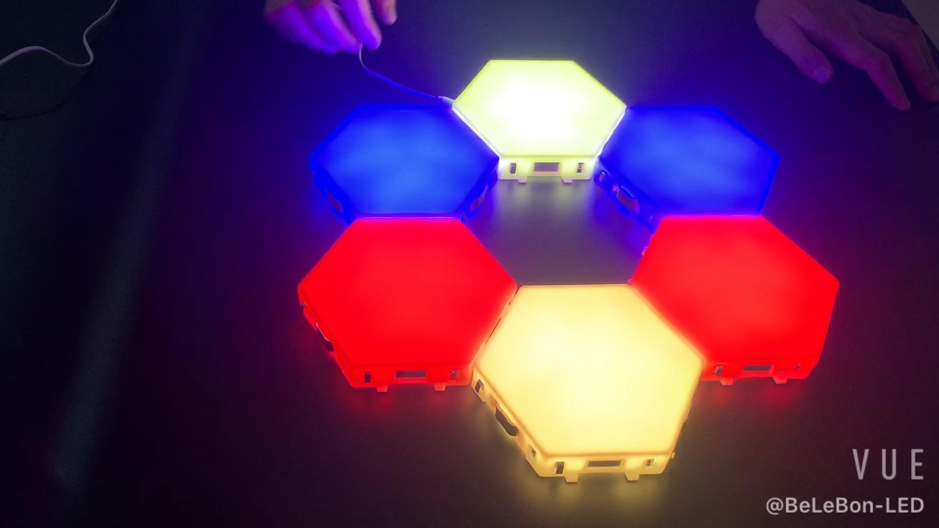 6 unids/set 3000K 4000K 6000K blanco RGB de panal LED cuántico magnético luz táctil noche lámpara Modular hexagonal lámpara de pared de luz