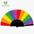 Fan Printed Printed Fans Black Hand Fan Plastic Folding Fan With Custom Logo Printed