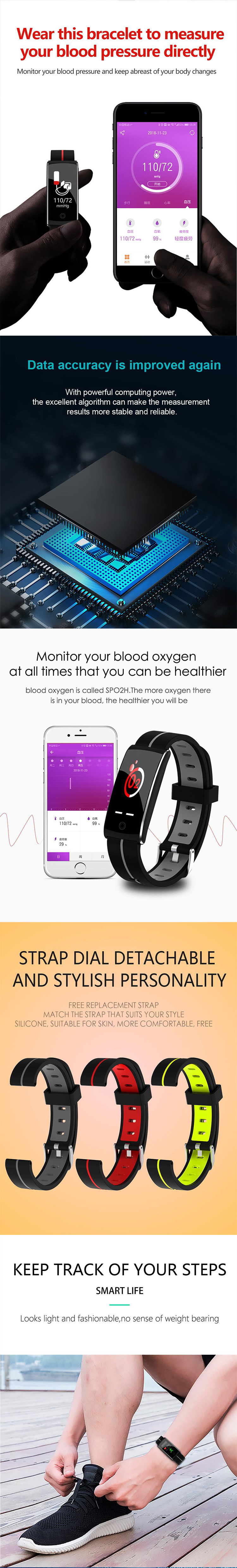 Smart color screen sports Bluetooth wristband heart rate sleep water-proof monitoring height
