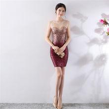 Платье для выпускного вечера It's Yiiya DX400 сверкающие блестки размера плюс Vestidos De Gala Иллюзия кристалл без рукавов короткое платье для выпускног...(China)