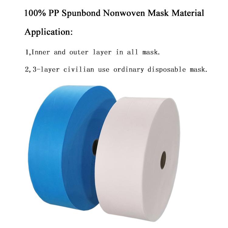 Médicos Descartáveis 3 Dobras Facemask Raw Material 100% PP Spunbond não tecido