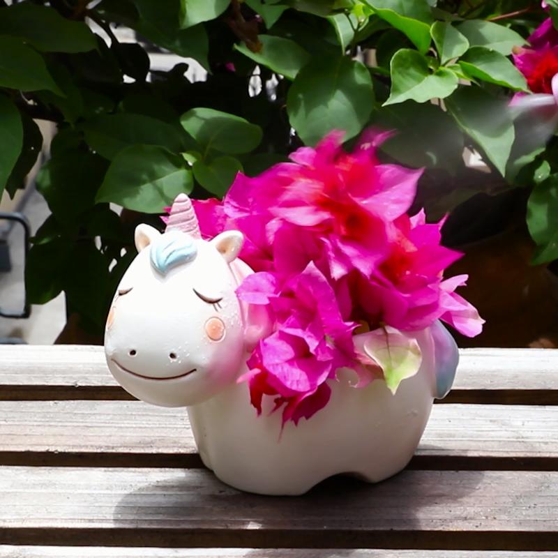 Roogo resin cute cartoon animal shaped flower pots for home decoration garden succulent planter pot for balcony
