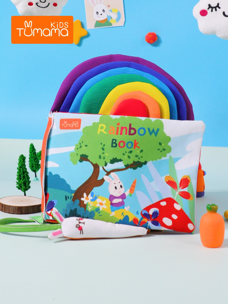 Fast Shipping Tumama Rainbow Colorful 3D Soft Baby Early Educational Cloth Book Washable Books For Children