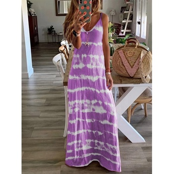 Tight Summer Beach Dress Hot Fashion Colorful Tie Dye Fitted Long Dresses For Women
