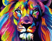 Tuoyun DIY colorful lion painting by numbers on canvas with frame for wall decoration
