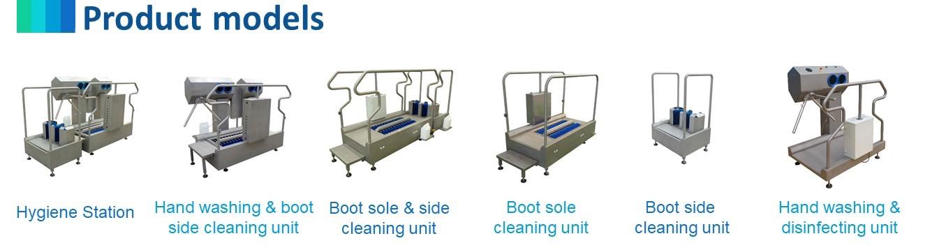 Automatique main unités de désinfection et brosses verticales pour le nettoyage et la désinfection chaussures