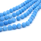Blue Blue Natural Matte Blue Chalcedony Stone Beads For Bracelet Necklace Jewelry Making