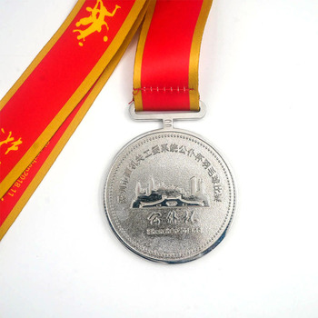 Promotion cheap badminton game award metal medal sports custom silver medallion with red ribbon