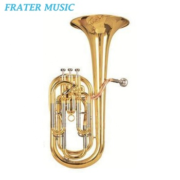 High grade gold lacquer Bb key Baritone horn with gold brass leadpipe and stainless steel piston (JBR-220)