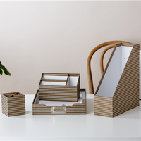Customized gift brown and white striped desk organizer eco friendly office stationery set for gift