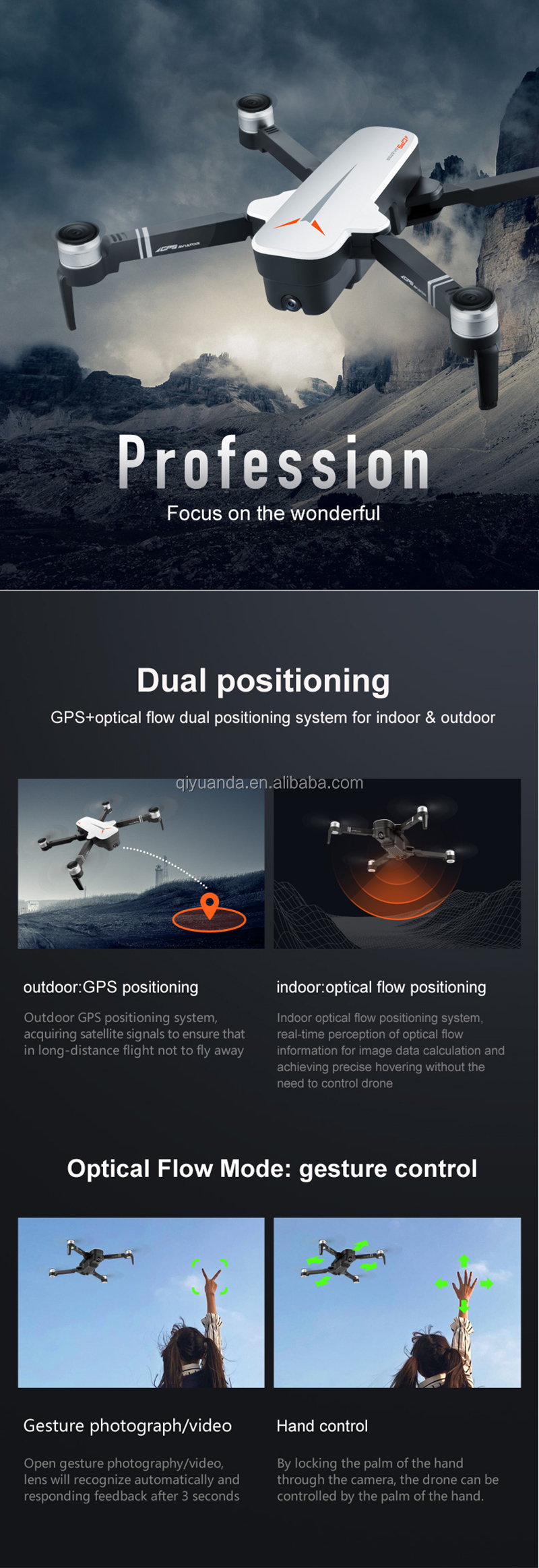 Foldable Brushless Professional GPS Drone With 5G WIFI FPV FHD 4K camera  Long Time Flight Follw Me RC Quadcopter