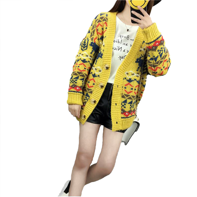 2019 hot sale V neck cardigan with Christmas pattern