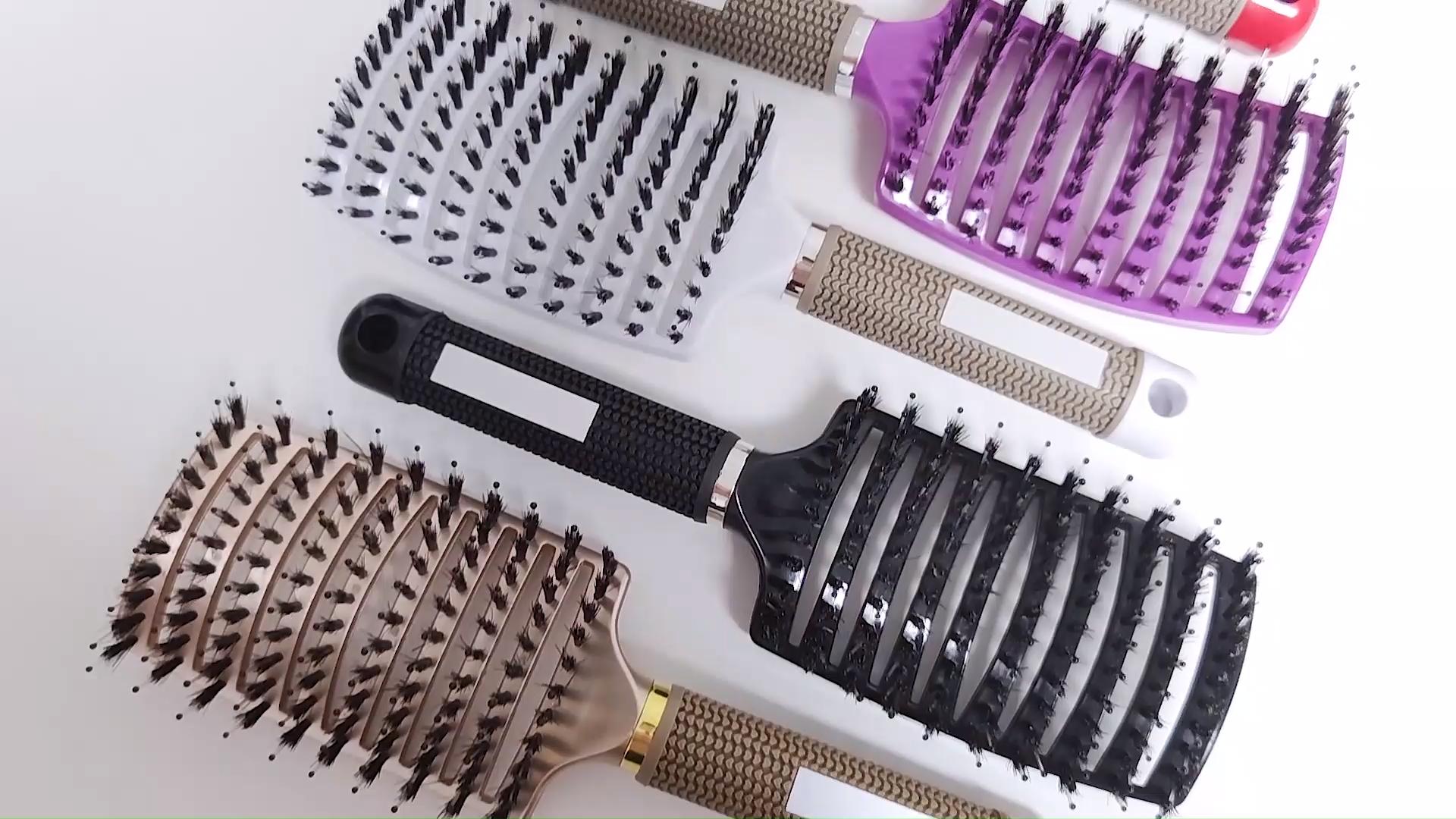 סלון אביזרי מותאם אישית לוגו עיסוי Detangling מברשת שיער טיפול פלסטיק קסם מברשת שיער לאישה