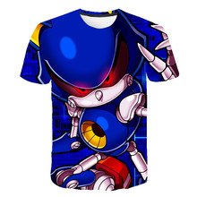 Детские Забавные футболки для девочек с объемным изображением Марио и Соника; Костюм для мальчиков; Летняя одежда 2020; Детская одежда; Футбол...(Китай)