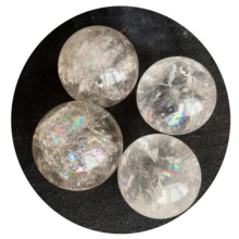 Atacado Natural Claro Branco Quartz Rainbow Magic Crystal Healing Bola Esfera Para FengShui