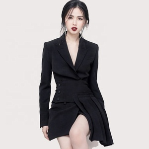 MZ18367 Hot Selling Elegant Black Ladies Office Pleated Dresses Lady Formal Womens Suits for Office Dress