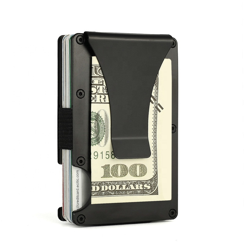 2020 CE/Rohs Certificated Minimalist Front Pocket RFID Blocking Metal Wallets for Men with Money Clip