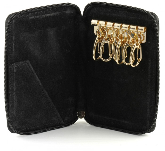 Zippered suede lining 6 hook key case leather with card slot inside