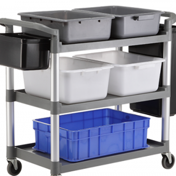 3-Tier Plastic Restaurant Hotel Kitchen Bar Hospitality Catering Equipment Serving Cleaning Bakery Food Service Trolley Cart