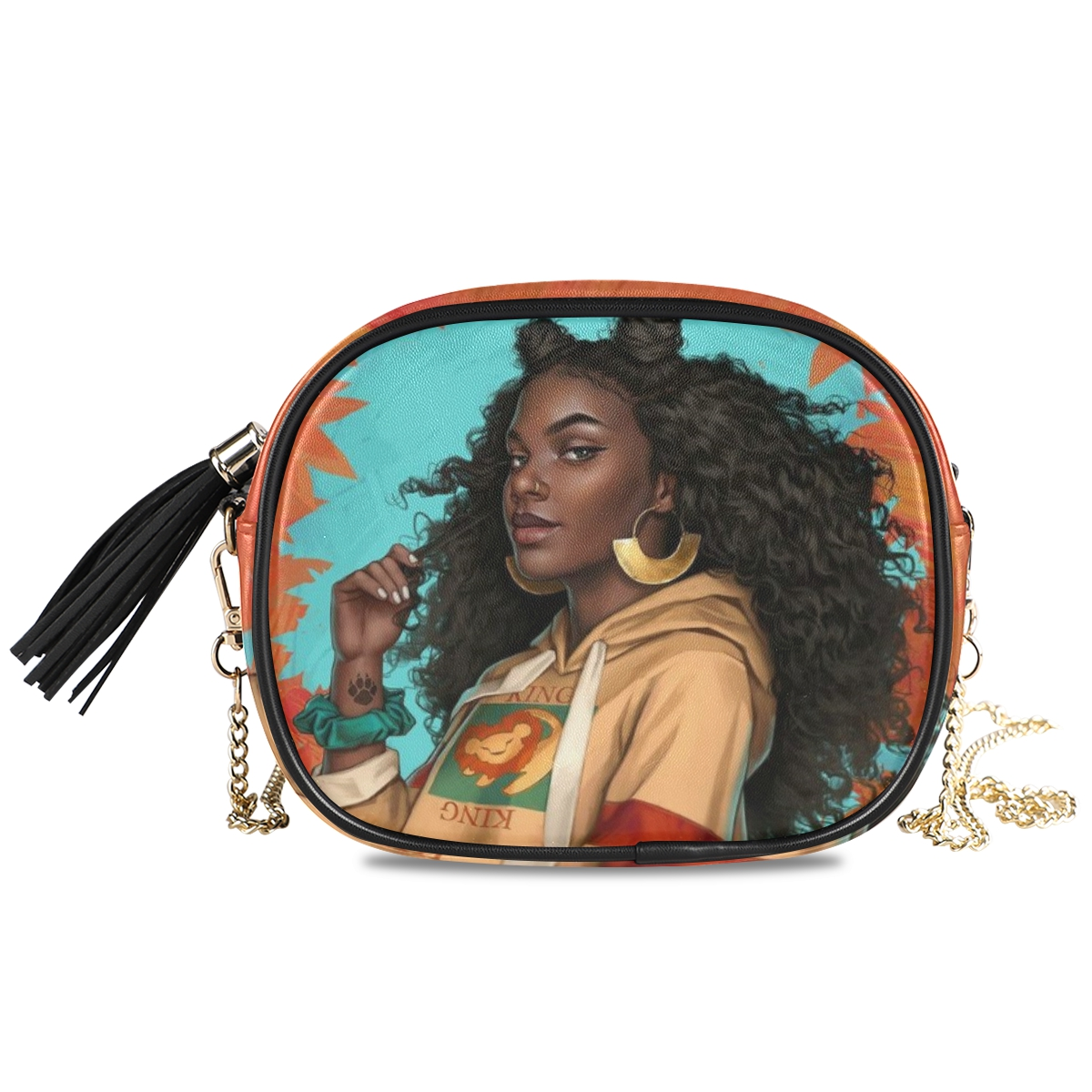 product-New Shoulder crossbody bag women bags 2020 PU Leather Chain bags Afro Girls black Women Mess-1