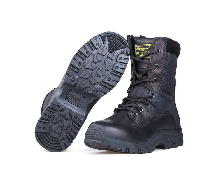 2020 hot sale full grain leather police military  tactical boots with side zipper